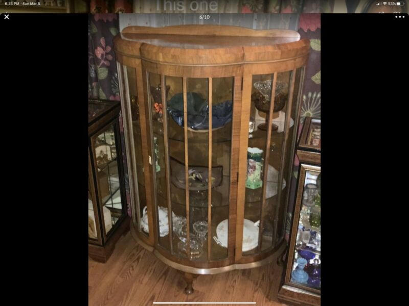 Vintage Antique Curved Glass Curio Display Cabinet Shelf 51 X 36 Inches