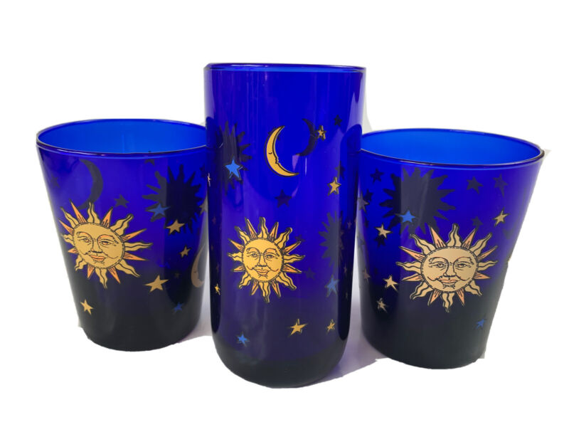 3 Libbey Vintage Cobalt Blue Celestial Sun And Moon Tumbler Drinking Glass