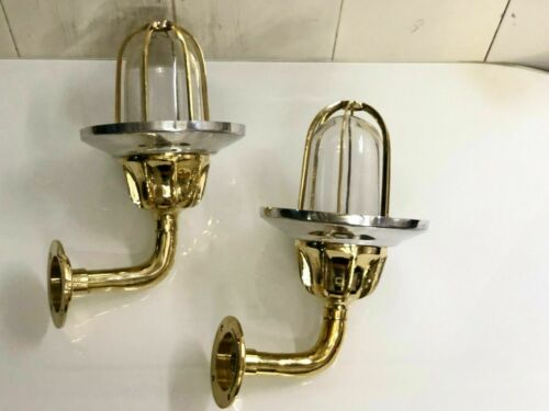 OUTDOOR WALL LIGHT SCONCE SOLID PASSAGEWAY BRASS NEW WITH ALUMINUM SHADE 2 PCS
