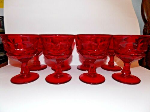 Set of 8 Ruby Red Fostoria Argus Stemmed- Footed Wine Goblets
