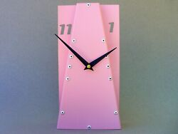 Leaning III / Unique Small Pink Office Desk Clock / Nursery Retro Table Decor