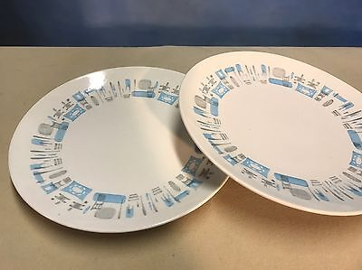 """Two Vintage Royal China Blue Heaven 10"""" Dinner Plates Mid Century"""