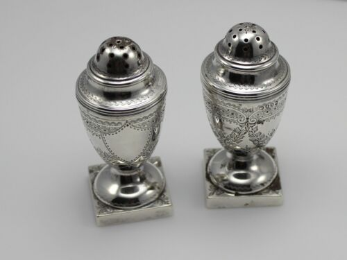 British Sterling Silver Set of Salt and Pepper Shakers - No Monogram