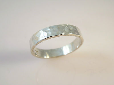 .925 Sterling Silver BASIC 5 mm HAMMERED BAND RING Size 5-12.25 NEW 925 16040 5mm Hammered Band Ring