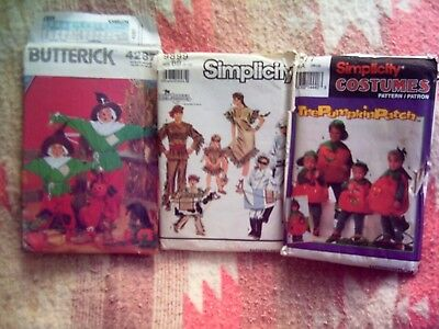 Three Girl Halloween Costumes (LOT of THREE(3) UNCUT Halloween Costume Patterns BOYS/GIRLS/UNISEX Various)
