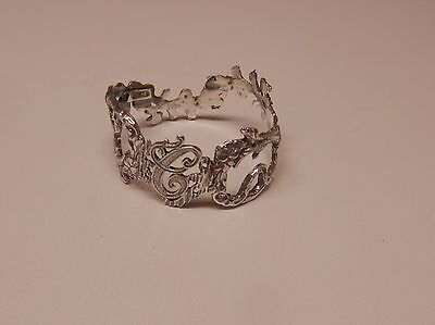 Napkin Ring with a ( Initial ( C )Rose Vine Design Sterling Silver