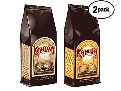 Kahlua 1 FRENCH VANILLA & 1 ORIGINAL 2 BAGS Gourmet Ground Coffee 12oz EACH  - Kahlua French Vanilla