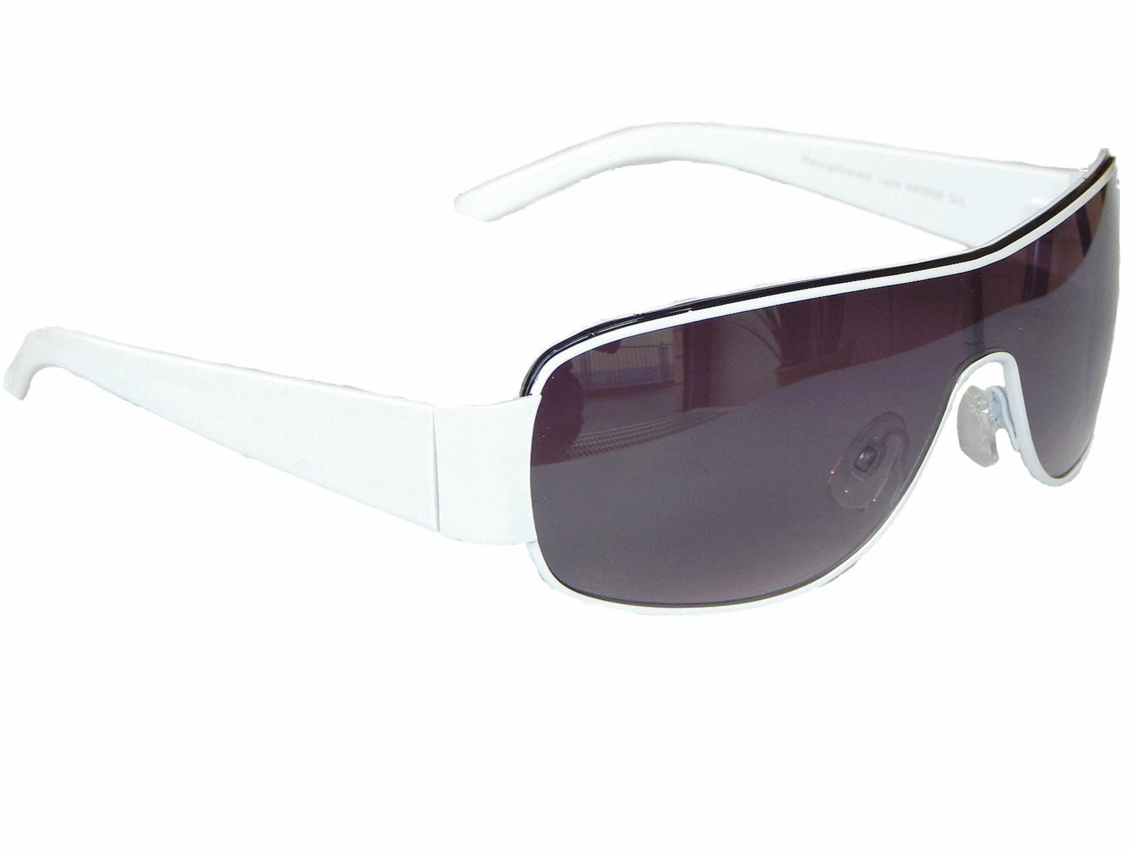 Coole Weiße Sonnenbrille Pilotenbrille Monoglas Sportlicher Damen Herren M 5