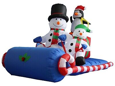 USED Christmas Inflatable Snowman Penguin Sleigh Sled LED Outdoor Art - Inflatable Decoration