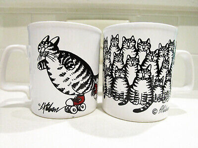 LOT OF 2 Vintage 1980s B. Kliban Coffee Mugs, Rollerskating Cat - Kiln Craft