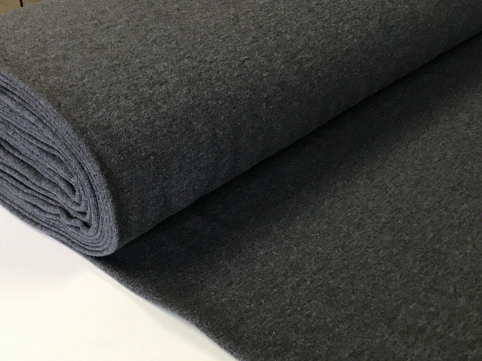 Sweatstoff meliert uni viele Farben METERWARE ÖKOTEX angeraut 140 cm breit Anthrazit