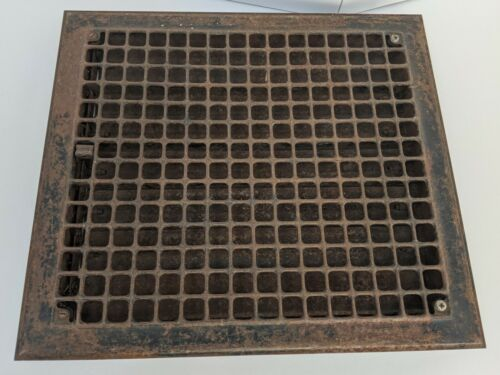 """Large 18"""" x 16"""" Iron Floor Register Grate with Louvers"""