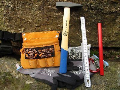 Maxi Werkzeuggürtel Werkzeugtasche Echt Leder mit Werkzeug für Kinder  600116 ()