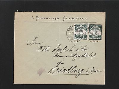 GERMANY SWASTIKA EAGLE OVER NUREMBURG JOINED PAID GLADENBACH 1935 COVER 6Z