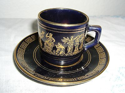 - RARE NEOFITOU DEMITASSE CUP & SAUCER HAND PAINTED IN GREECE WITH 24K GOLD TRIM