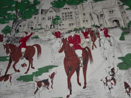 Antique Chase Equestrian Hunt Cotton Furnishings Fabric ~ Red Green