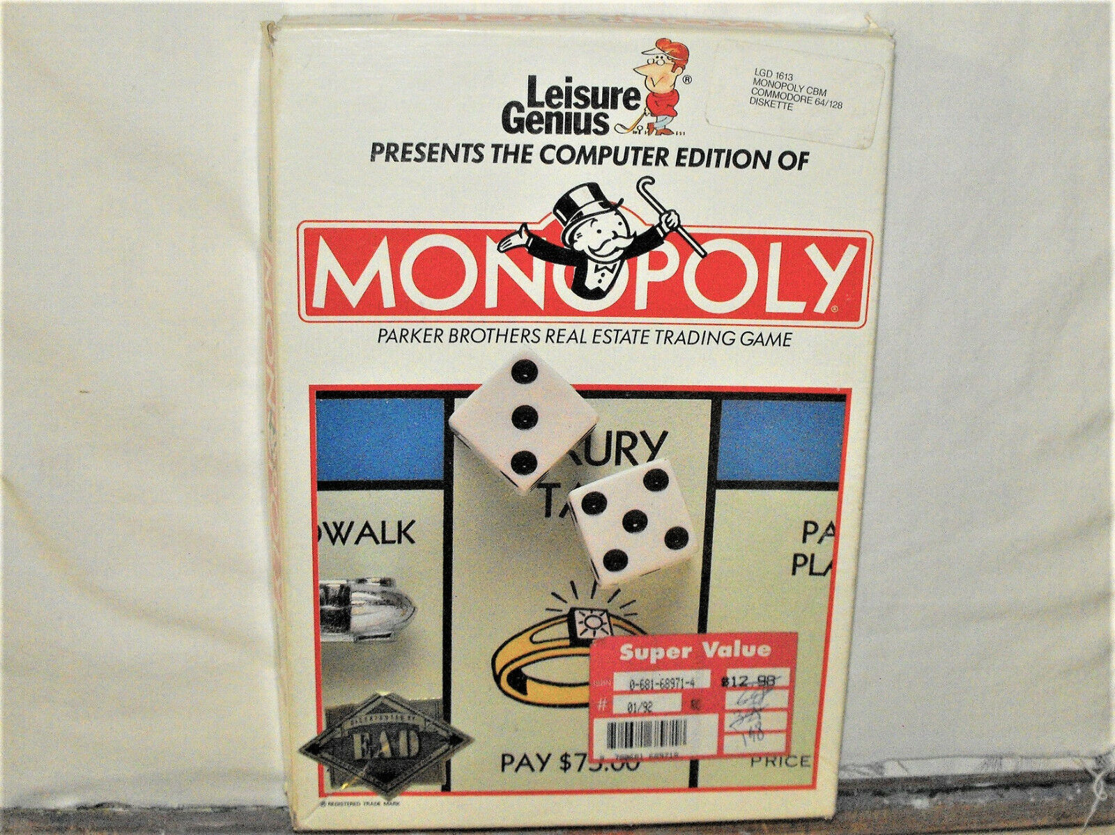 Computer Games - Commodore 64/128 Computer Game MONOPOLY Leisure Genius Software Disk Manual Box