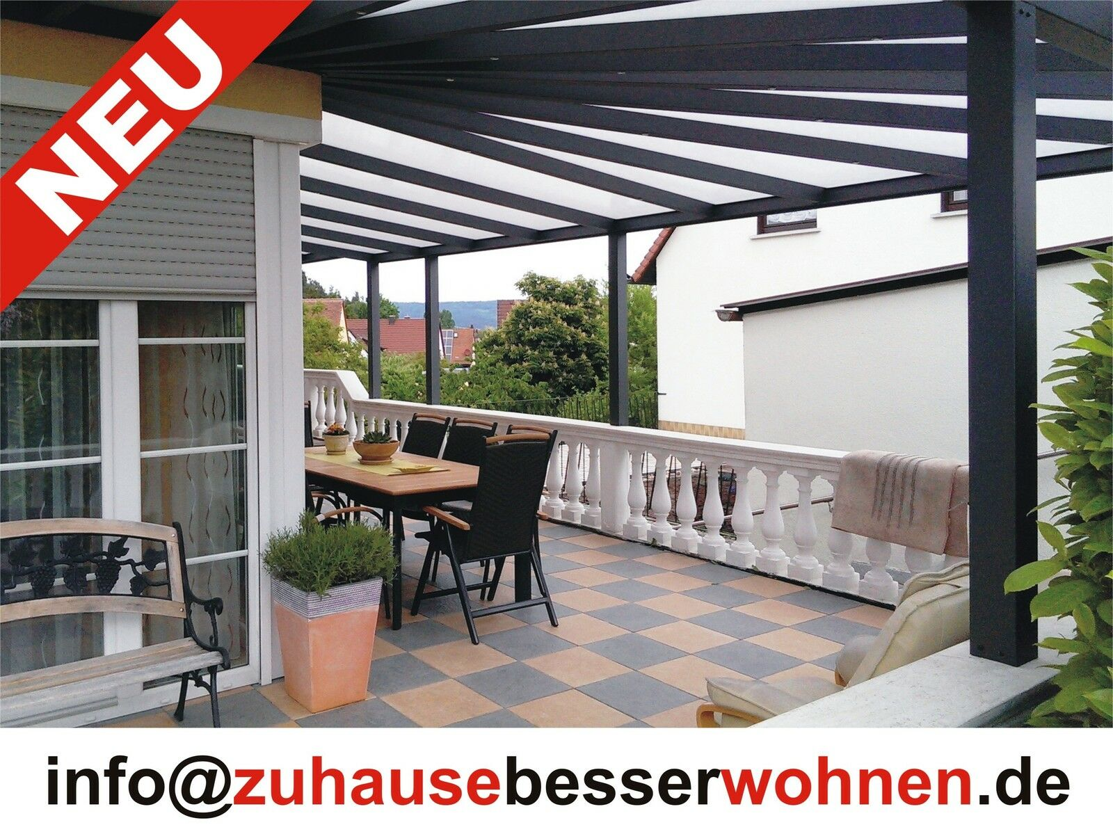 terrassen berdachung carport aluminium terrassendach anthrazit vsg glas 6x3 5 eur. Black Bedroom Furniture Sets. Home Design Ideas