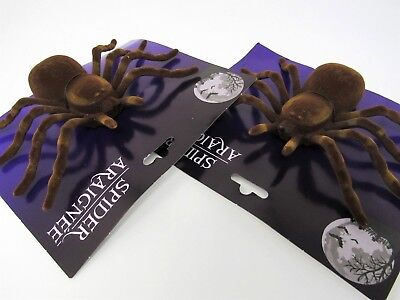 Halloween Spiders Large Brown Set Of 2 Haunted House Decorations 7 inches - Spiders Halloween Decorations