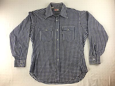 VINTAGE 70s LEVIS SHIRT BUTTON UP GINGHAM PLAID CHECKERED LONG SLEEVE