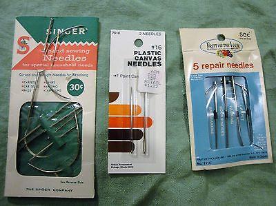 (2109)  vintage sewing needles nip repair and plastic canvas