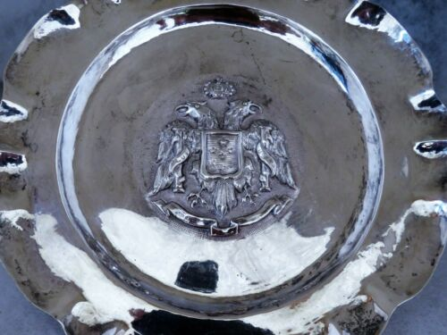 sterling silver tray , Double Eagle crest Toledo , Spain