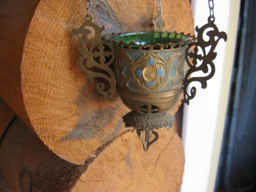 Old Russian, Lamp for Icon,Lampada Orthodox Antique old bronze with green Glas