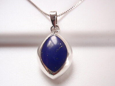 Reversible Blue Lapis and Mother of Pearl 925 Sterling Silver Marquise Pendant ()