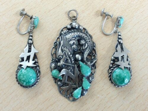 ANTIQUE FILIGREE & PEKING GLASS PENDANT & EARRINGS BY NEIGER BROTHERS 1920