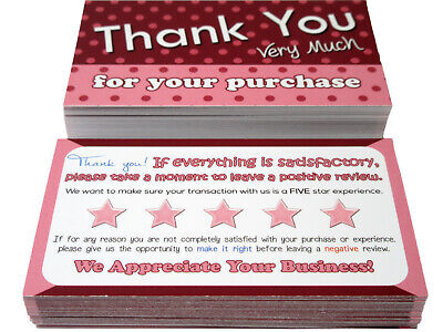 100 Pink Thank You Cards for Poshmark, Mercari, eBay, Amazon, or etsy Sellers