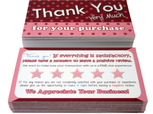100 Thank You Cards Poshmark Mercari eBay Amazon etsy Pink