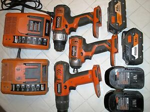 Rigid drill set 18 V -3 Drill + 2 charger + 4 Battery Gatineau Ottawa / Gatineau Area image 1
