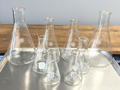 8 Corning Pyrex Erlenmeyer Lab Glass Flask Set 1l 1000ml 500ml 250ml 125ml