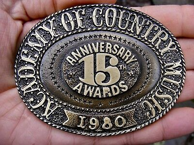 Vtg Academy Country Music Belt Buckle 1980 Awards 4  Shelton Art Bronze Rare Vg