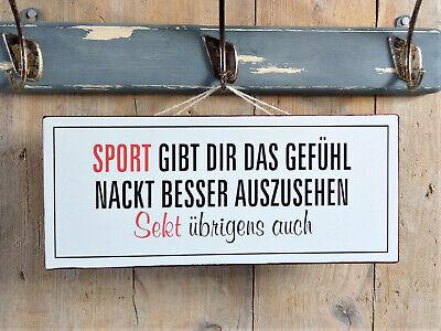 """Witziges Metallschild über """"SPORT und SEKT"""", Hängeschild von La Finesse, NEU"""