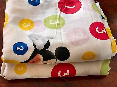 Disney Mickey Mouse Club House 2 Flat Twin Sheets 1 2 3 Fabric Vintage Goofy