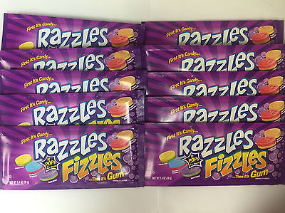 Razzles Fizzles 10ct Candy Set - First Its Candy & Then It's GUM FREE SHIPPING