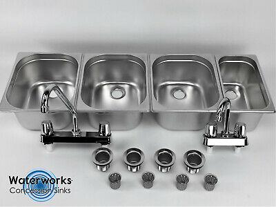 Concession Sink 4 Compartment Portable Food Truck Trailer 3l1s Handwash Faucets