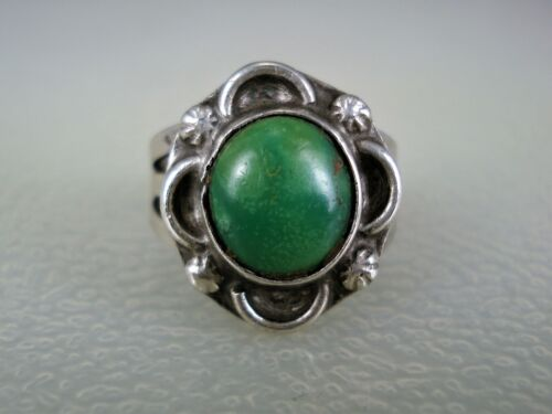 WONDERFUL OLD NAVAJO STERLING SILVER & CERRILLOS TURQUOISE RING size 5