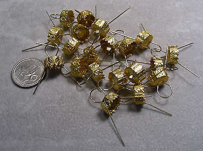 Ornament Caps for Holiday Ornaments Old or New 11.5 mm - 20 caps Gold
