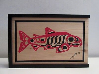 "ABORIGINAL HAIDA GWAII COREY BULPITT WOOD BOX WITH FISH 10 1/2"" x 7"" SMALL CHIP for sale  Shipping to Canada"