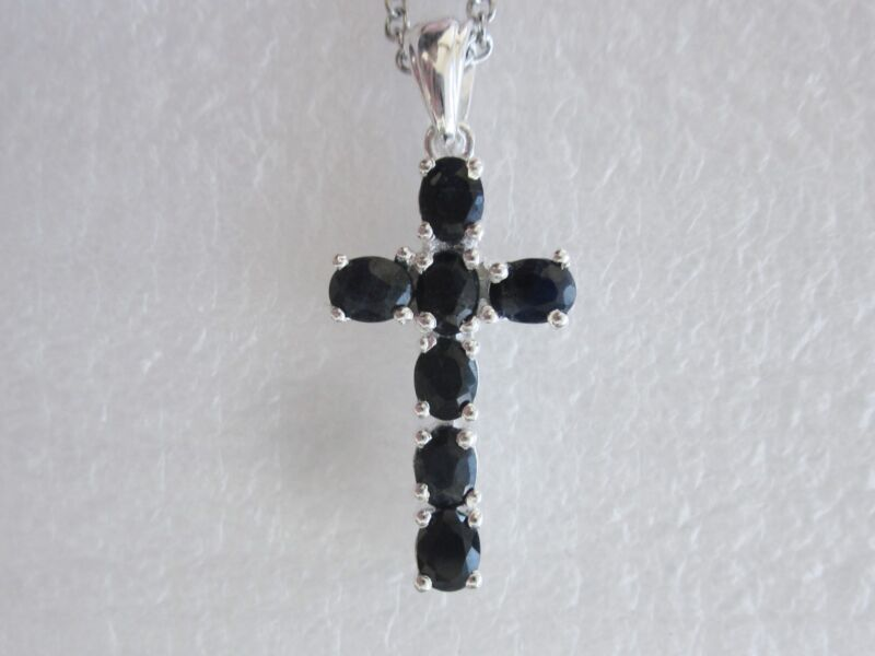 Black Sapphire Cross Pendant in Sterling Silver
