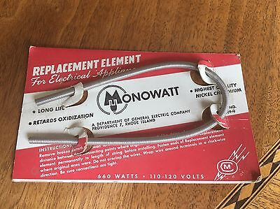MONOWATT ELECTRICAL REPLACEMENT  ELEMENT NEW OLD STOCK 1950's APPLIANCES