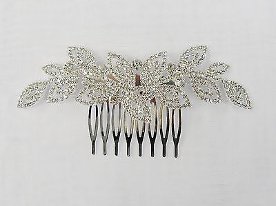 Clear Rhinestone Crystal Silver Plated Hair Comb  # 3031 Prom Wedding Pageant