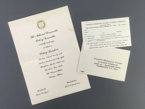 National Democratic Victory Committee Luncheon 1968 Invitation Response Chicago