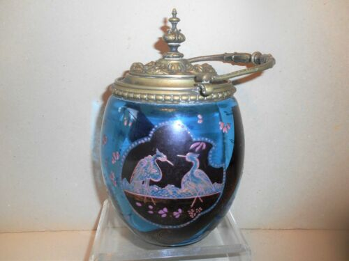 Victorian Hand Painted Enameled Blue Glass Biscuit Jar