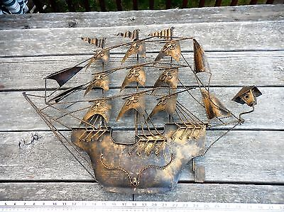 Large Wall Hanging Sail Boat Metal Art Sculpture nautical ship