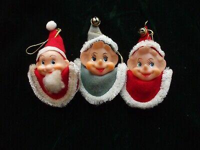 Vintage Christmas Tree Ornaments ELF HEADS Elves Felt Runner Face Chenille Japan (Christmas Elf)