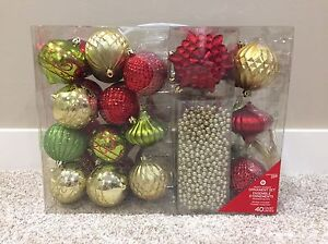 NEW 40 Piece Red, Gold & Green Christmas Ornament Set