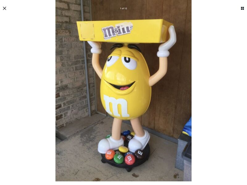 Yellow Peanut M&M Character on Wheels Giant Candy Store Display Collectible